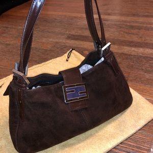NEW AUTH FENDI SUEDE SHOULDER BAG BAGUETTE BROWN